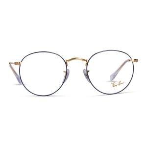 % Rayban Round Metal Gold-Blue Frame RB3447v 3105